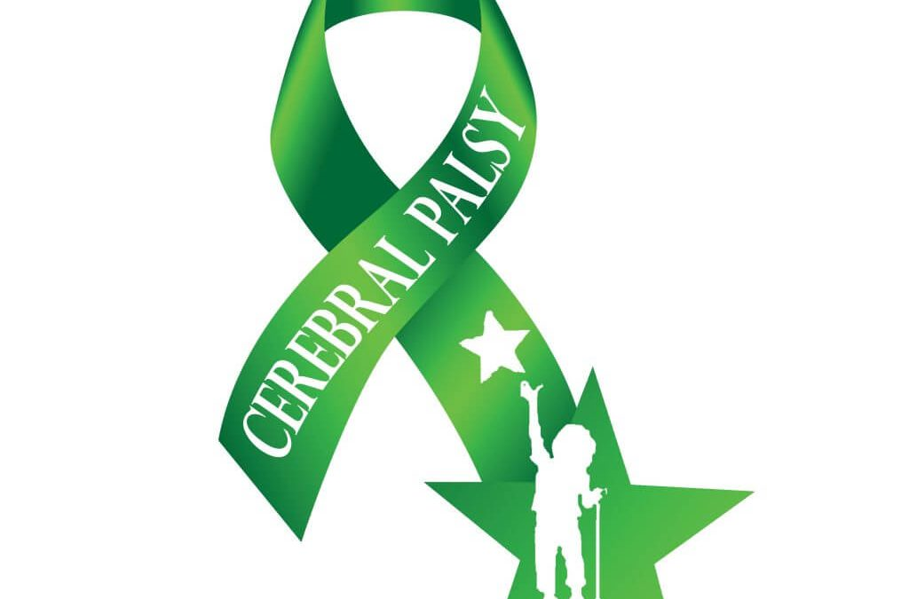 image of a green ribbon for cerebral palsy awareness month