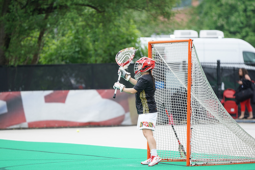 Photo of a lacrosse player in the net