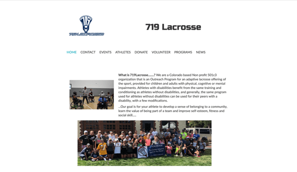 screenshot of the 719 Lacrosse website