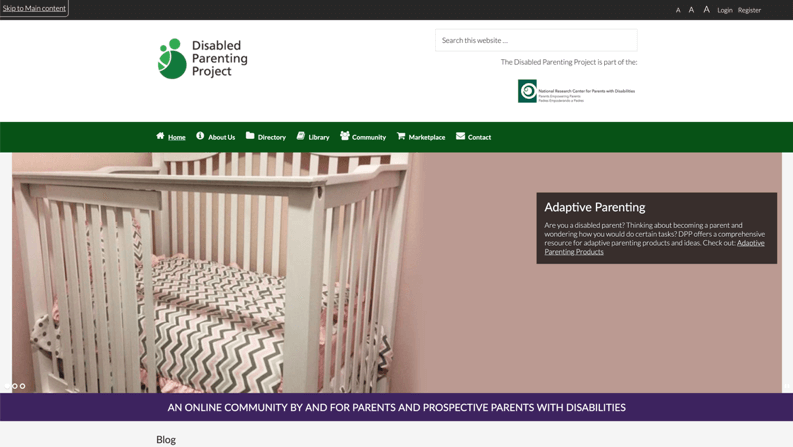 Screenshot of Disabled Parenting Project website