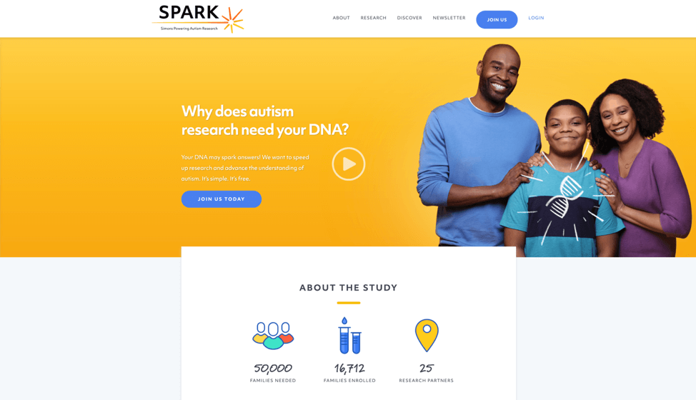 screenshot of the SPARK website