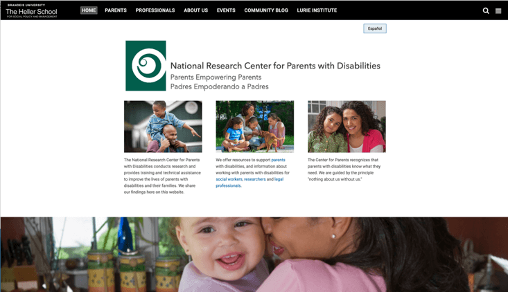Screenshot of National Research Center for Parents with Disabilities