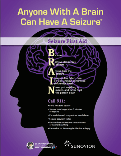 Poster of what to do when someone has a seizure