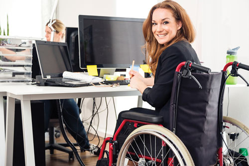 Young professional in a wheelchair