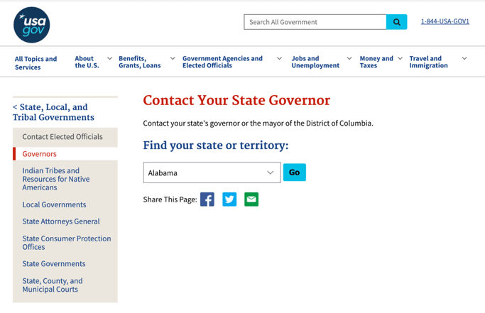 Screenshot of usa.gov website to locate your governor's contact info